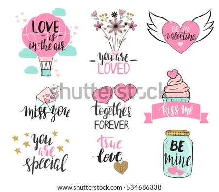 Set Valentines Day Templates Modern Hand Stock Vector (Royalty Free