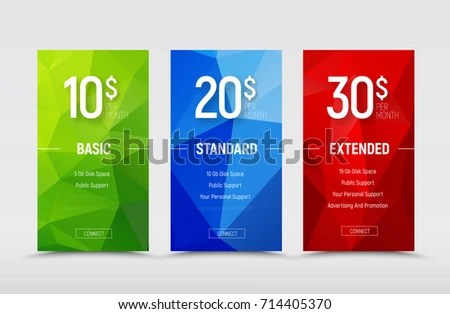 Set Vector Price Tables Templates Banners Stock Vector (Royalty Free