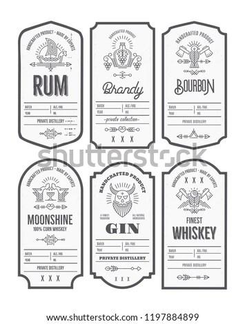 Set Vintage Bottle Label Design Ethnic Stock Vector (Royalty Free