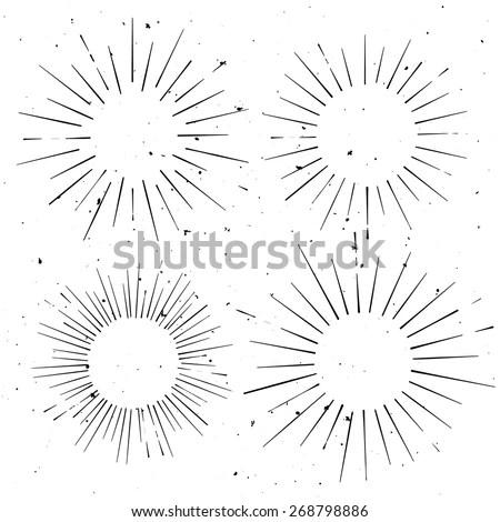 Set Vintage Circle Hand Drawn Ray Stock Vector (Royalty Free
