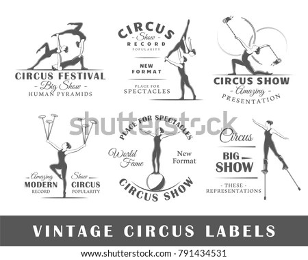 Set Vintage Circus Labels Templates Design Stock Vector (Royalty