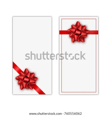 Set White Holiday Gift Card Red Stock Vector (Royalty Free
