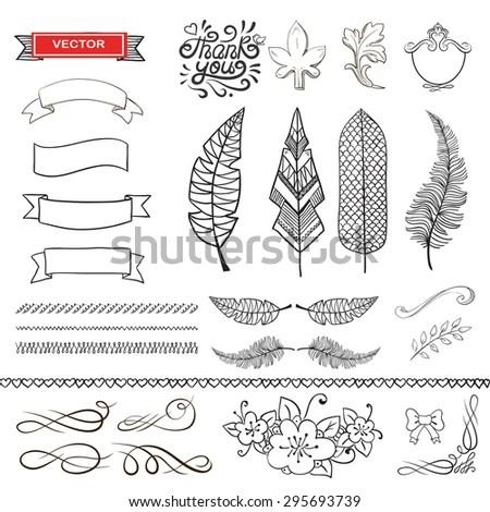 Set Wreaths Feather Flower Wreath Frame Stock Vector (Royalty Free