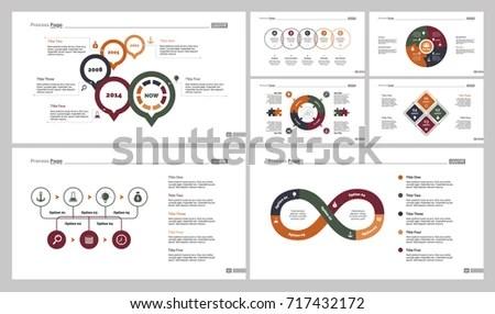 Seven Marketing Charts Slide Templates Set Stock Vector (Royalty