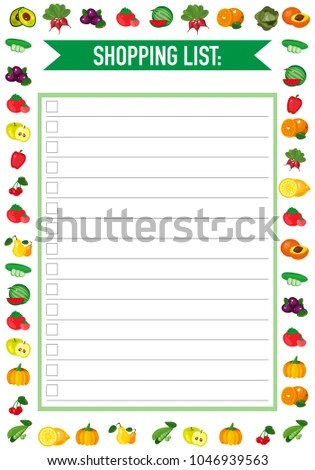 Shopping List Template Colourful Fruit Ornaments Stock Vector