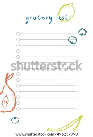 Simple Beautiful Grocery List Vector Template Stock Vector (Royalty