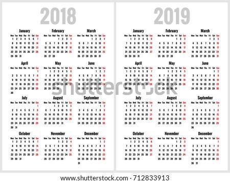 Simple Calendar 2018 2019 Years Week Stock Vector (Royalty Free