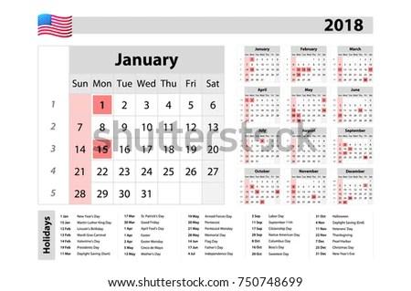 Simple Calendar 2018 One Year Glance Stock Vector (Royalty Free