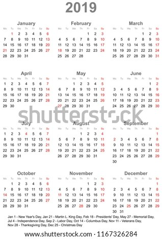 Simple Calendar 2019 One Year Glance Stock Vector (Royalty Free