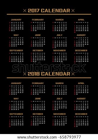 Simple Calendar Layout 2017 2018 Years Stock Vector (Royalty Free