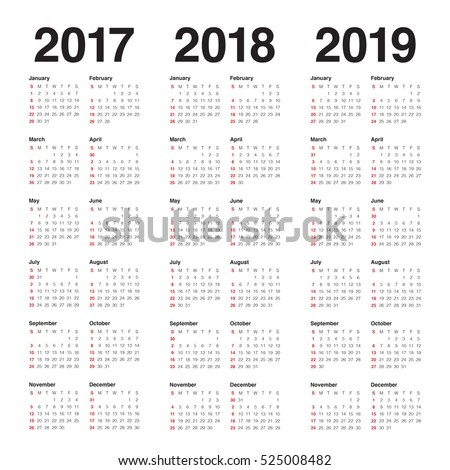 Simple Calendar Template 2017 2018 2019 Stock Vector (Royalty Free - Calendar Template