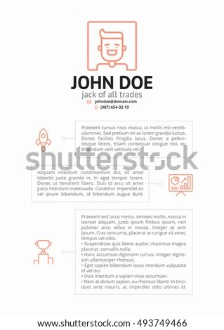 Simple CV Resume Template Outline Icons Stock Vector (Royalty Free