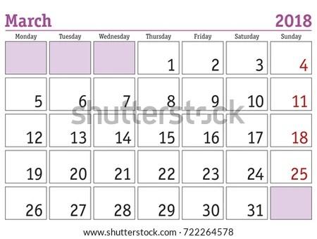 Simple Digital Calendar March 2018 Vector Stock Vector (Royalty Free