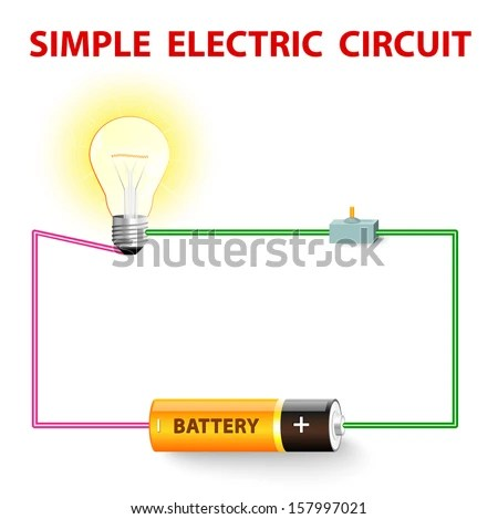 Simple Electric Circuit Electrical Network Switch Stock Vector