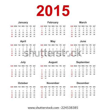 Simple European 2015 Year Blank Calendar Stock Vector (Royalty Free