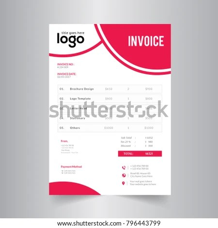 Simple Red Invoice Design Stock Vector (Royalty Free) 796443799