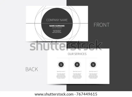 Simple Vector Business Card Circle Layout Stock Vector (Royalty Free