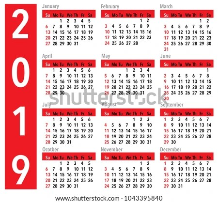 Simple Vector Calendar Year 2019 Red Stock Vector (Royalty Free