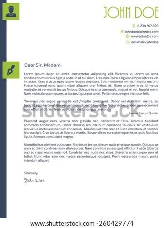 Simplistic Cover Letter Design Design Elements Stock Vector (Royalty