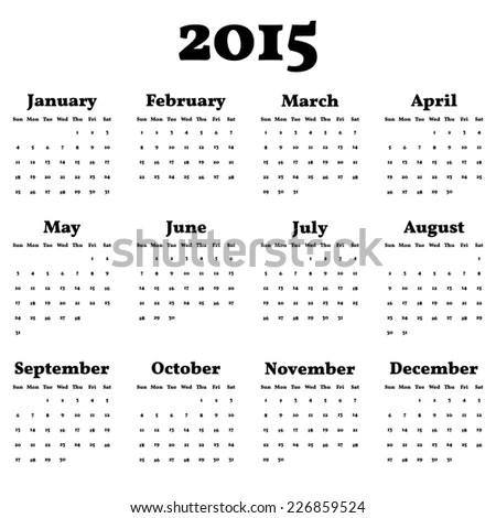 Simply Classic Calendar 2015 Year Vector Stock Vector (Royalty Free