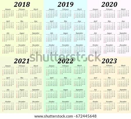 Six Year Calendar 2018 2019 2020 Stock Vector (Royalty Free