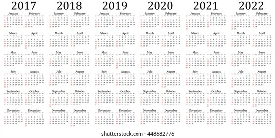 Six Year Calendar 2017 2018 2019 Stock Vector (Royalty Free
