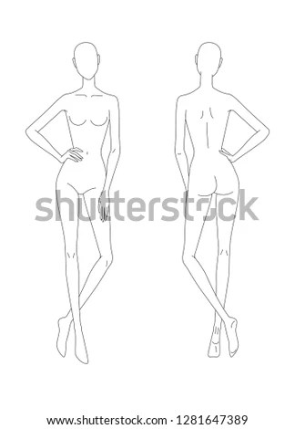 Sketch Female Body Front Back View Stock Vector (Royalty Free