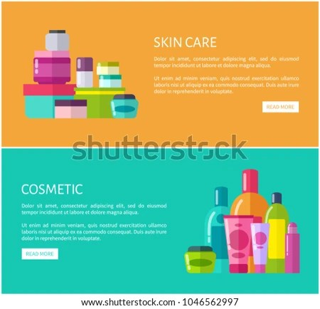 Skincare Cosmetic Online Advertisement Pages Set Stock Vector