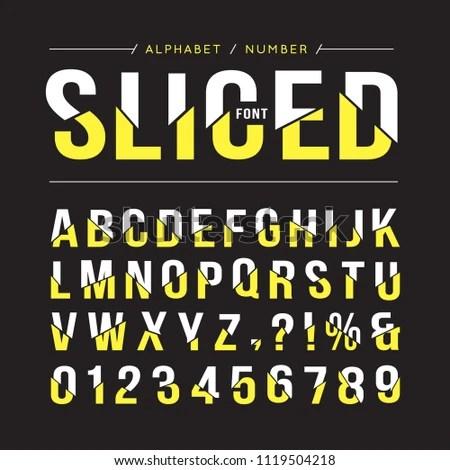 Sliced Font Typeface Alphabet Number Sliced Stock Vector (Royalty