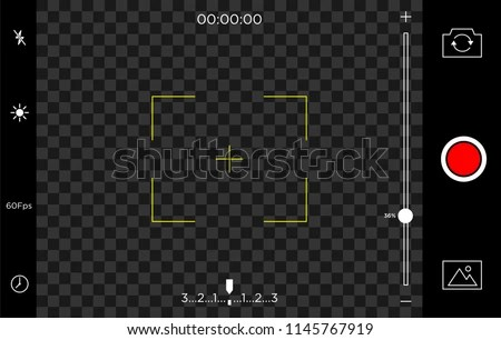 Smartphone Camera Recording Screen View Template Stock Vector
