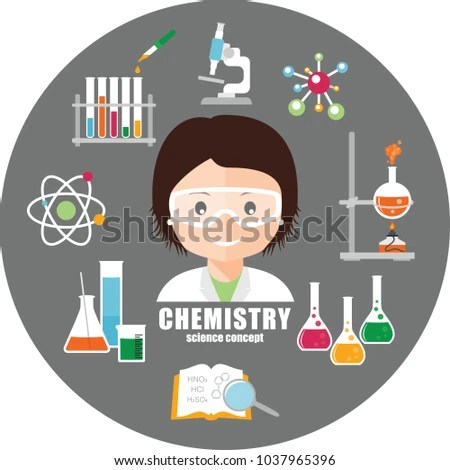 Smiling Scientist Safety Glasses Chemical Equipment Stock Vector