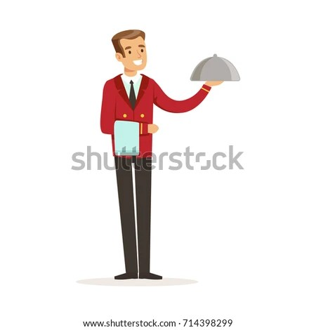 Smiling Waiter Character Serving Meal Under Stock Vector (Royalty
