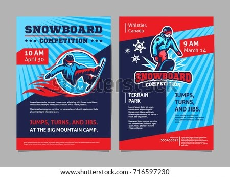 Snowboard Competition Posters Flyer Template Vector Stock Vector
