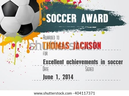 Soccer Certificate Template Football Ball Icon Stock Vector (Royalty