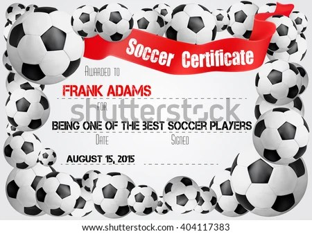 Soccer Certificate Template Football Ball Icons Stock Vector