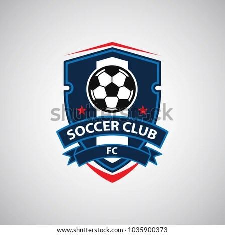 Soccer Football Badge Logo Design Templates Stock Vector (Royalty