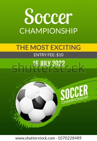Soccer Poster Template Football Vector Flyer Stock Vector (Royalty
