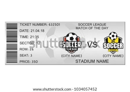 Soccer Ticket Design Template Football Stadium Stock Vector (Royalty