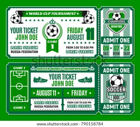 Soccer Ticket Template Football World Cup Stock Vector (Royalty Free