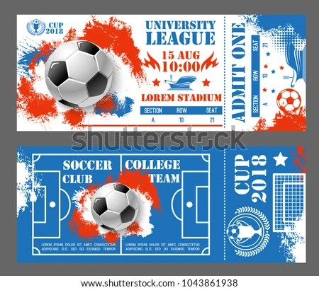 Soccer World Cup 2018 Tickets Design Stock Vector (Royalty Free