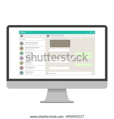 Social Network Template Blank Template Messenger Stock Vector