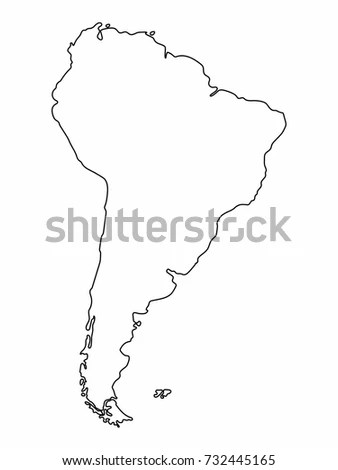 South America Map Outline Graphic Freehand Stock Vector (Royalty