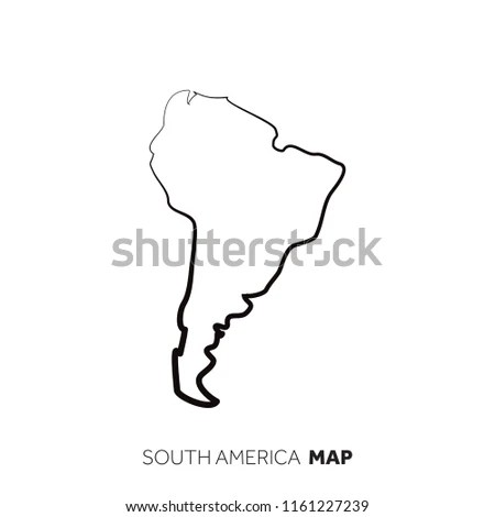 South America Vector Country Map Outline Stock Vector (Royalty Free