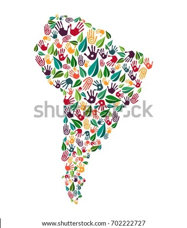 South American Continent Shape Green Leaves Stock Vector (Royalty