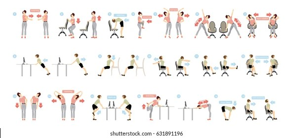Exercise At Office Stock Illustrations, Images  Vectors Shutterstock - office exercise