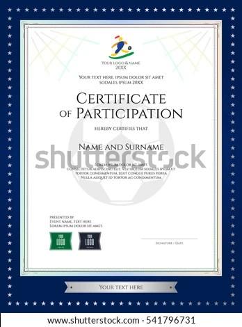 Sport Theme Portrait Certificate Participation Template Stock Vector