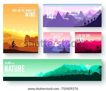 Sports Rest Day Vector Brochure Cards Stock Vector (Royalty Free