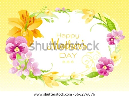 Spring Background Happy Mothers Day Flyer Stock Vector (Royalty Free