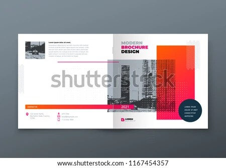 Square Brochure Design Orange Corporate Business Stock Vector