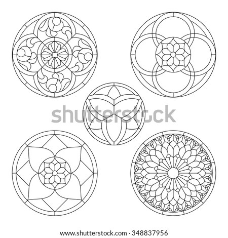 Stained Glass Templates Round Elements Stained Stock Vector (Royalty